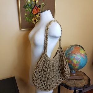 Homemade boho hippie macrame bag